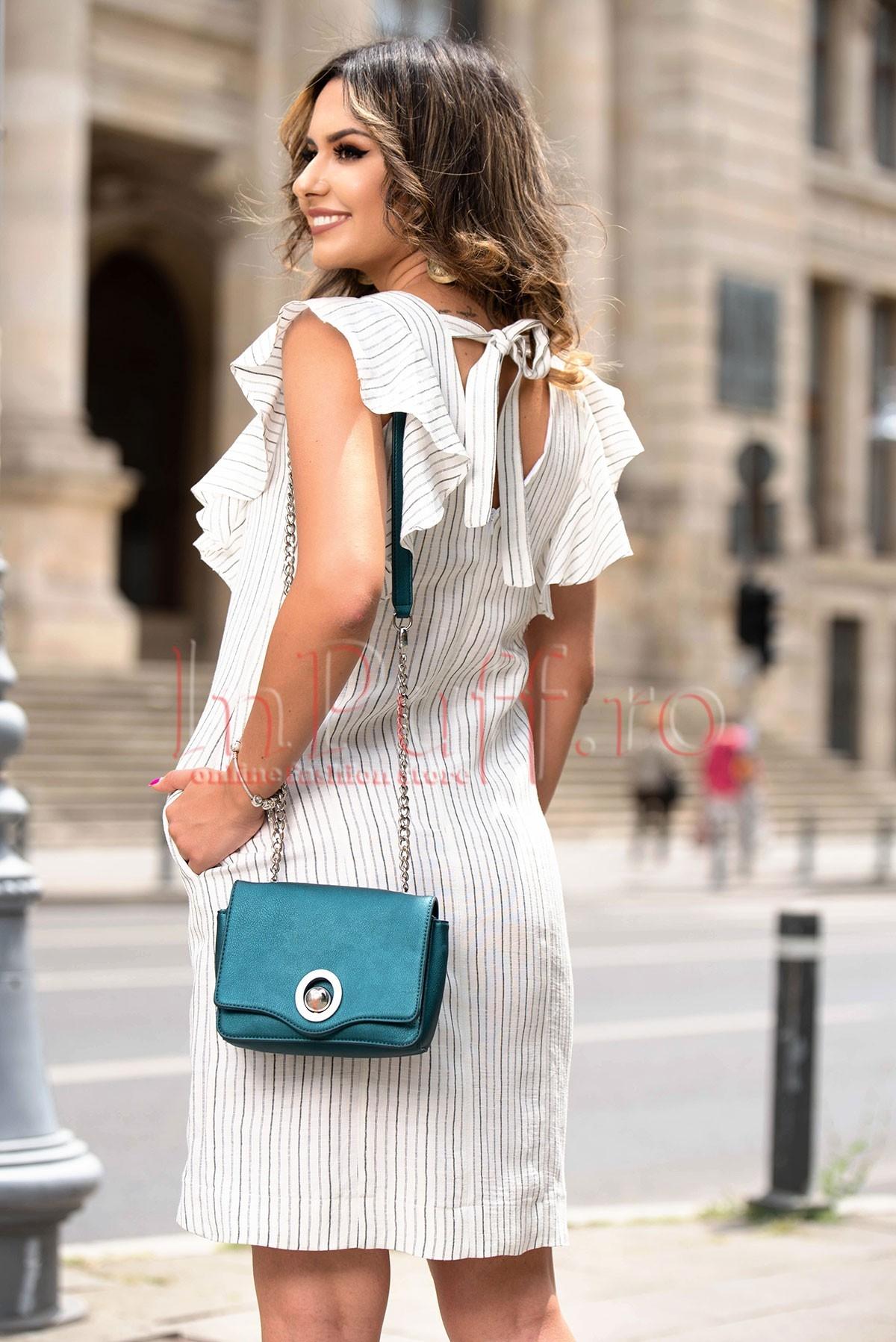 Rochie eleganta de vara alba din in cu imprimeu dungi