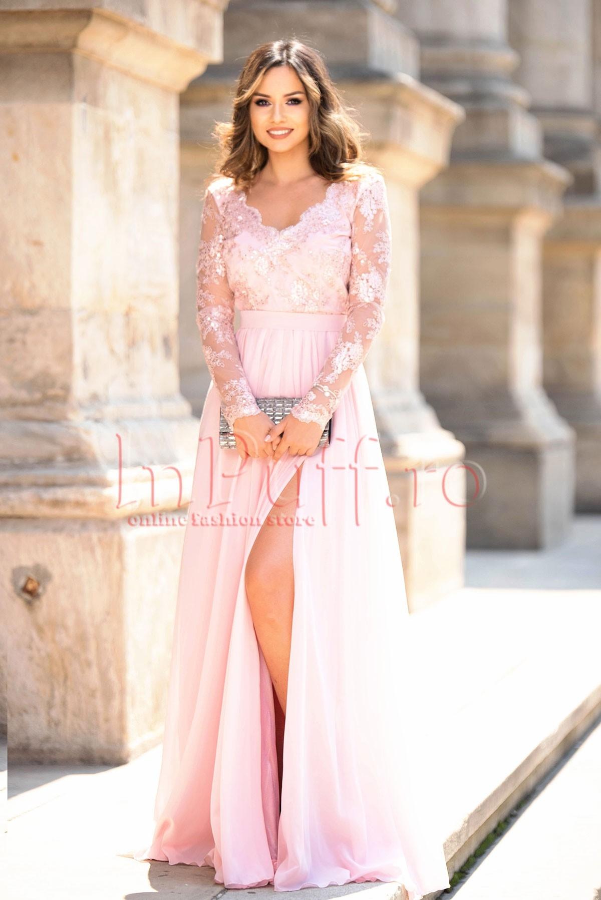 Rochie de ocazie rose din voal cu broderie si paiete