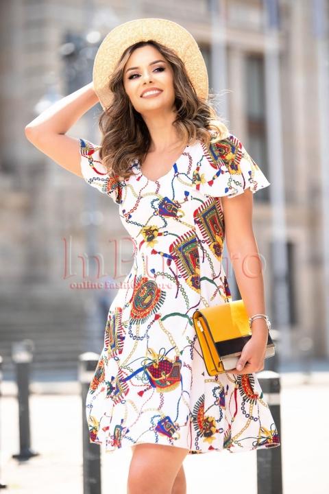 Rochie eleganta de vara alba cu imprimeu deosebit