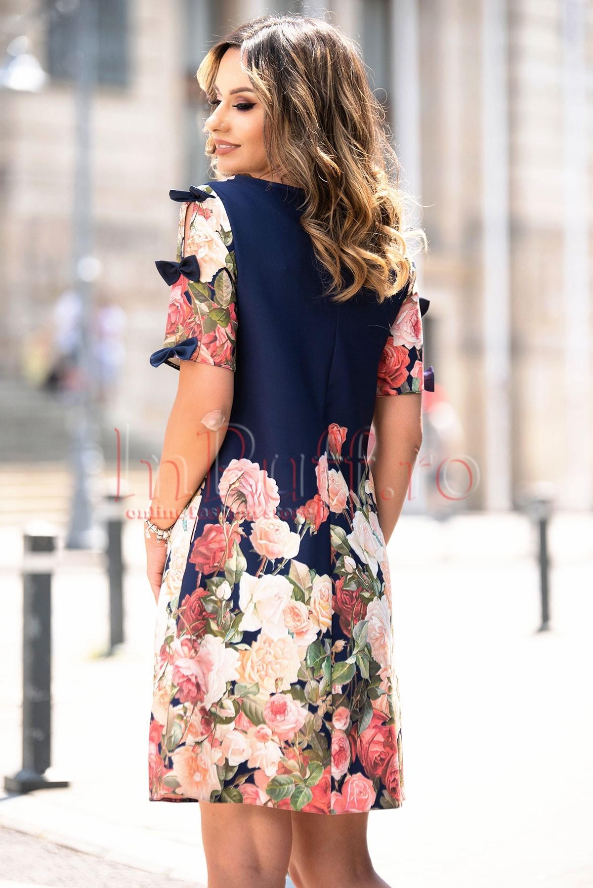 Rochie eleganta de zi bleumarin cu imprimeu floral deosebit