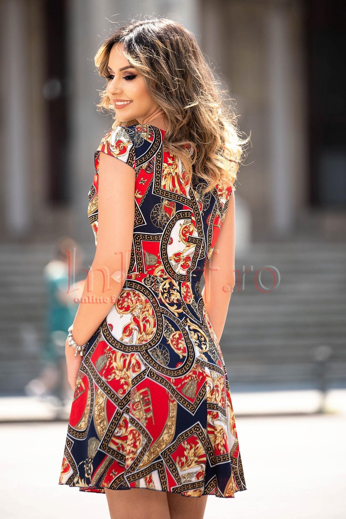Rochie eleganta de zi cu imprimeu deosebit