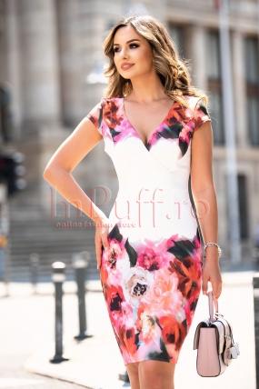 Rochie de zi eleganta cu decolteu in V petrecut si imprimeu floral
