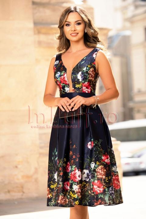 Rochie eleganta bleumarin in clos cu imprimeu floral