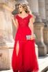 Rochie de ocazie lunga rosie din voal plisat si broderie accesorizata cu paiete