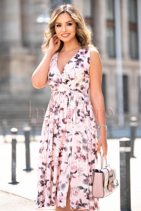 Rochie eleganta rose de vara Moze cu imprimeu floral