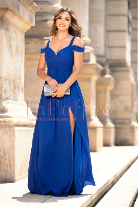 Rochie de seara lunga albastra din voal plisat