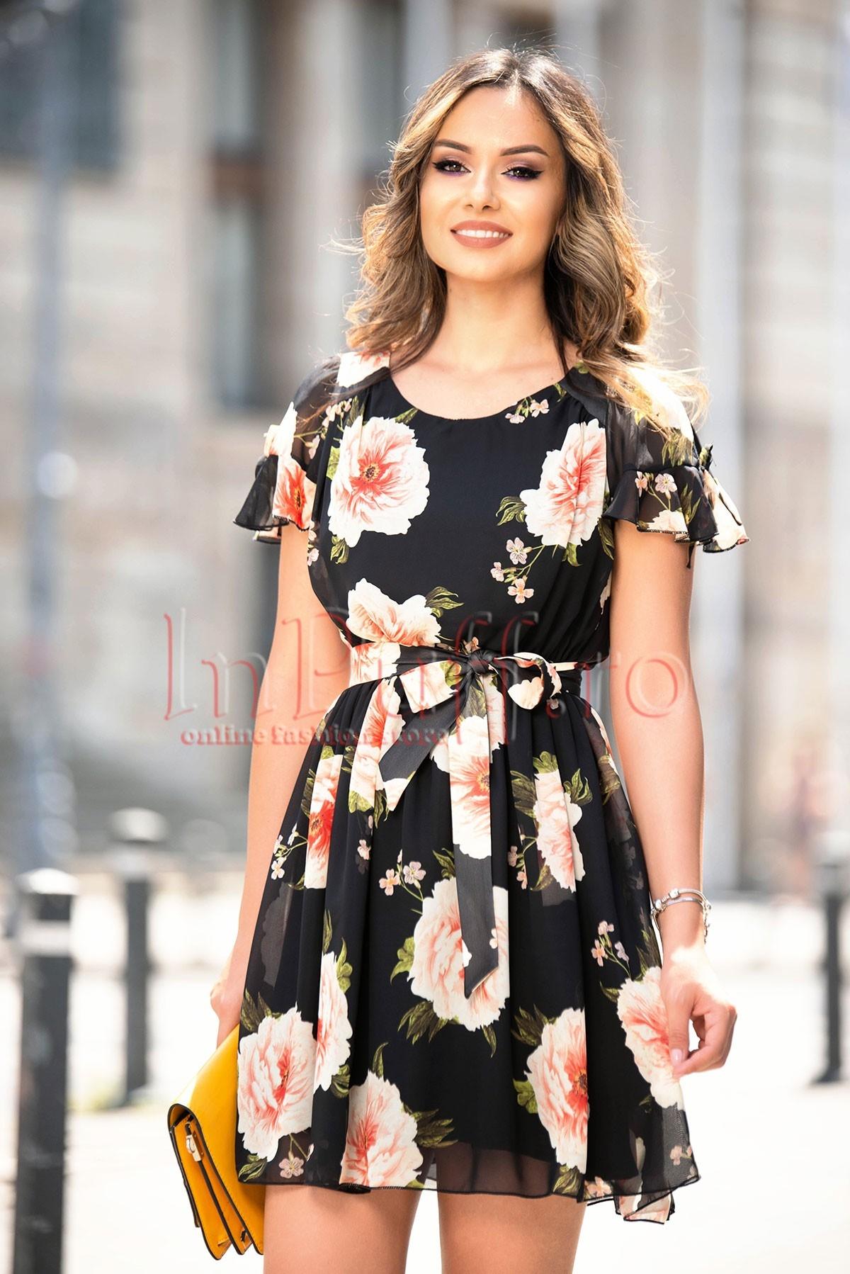 Rochie eleganta de vara neagra cu imprimeu floral