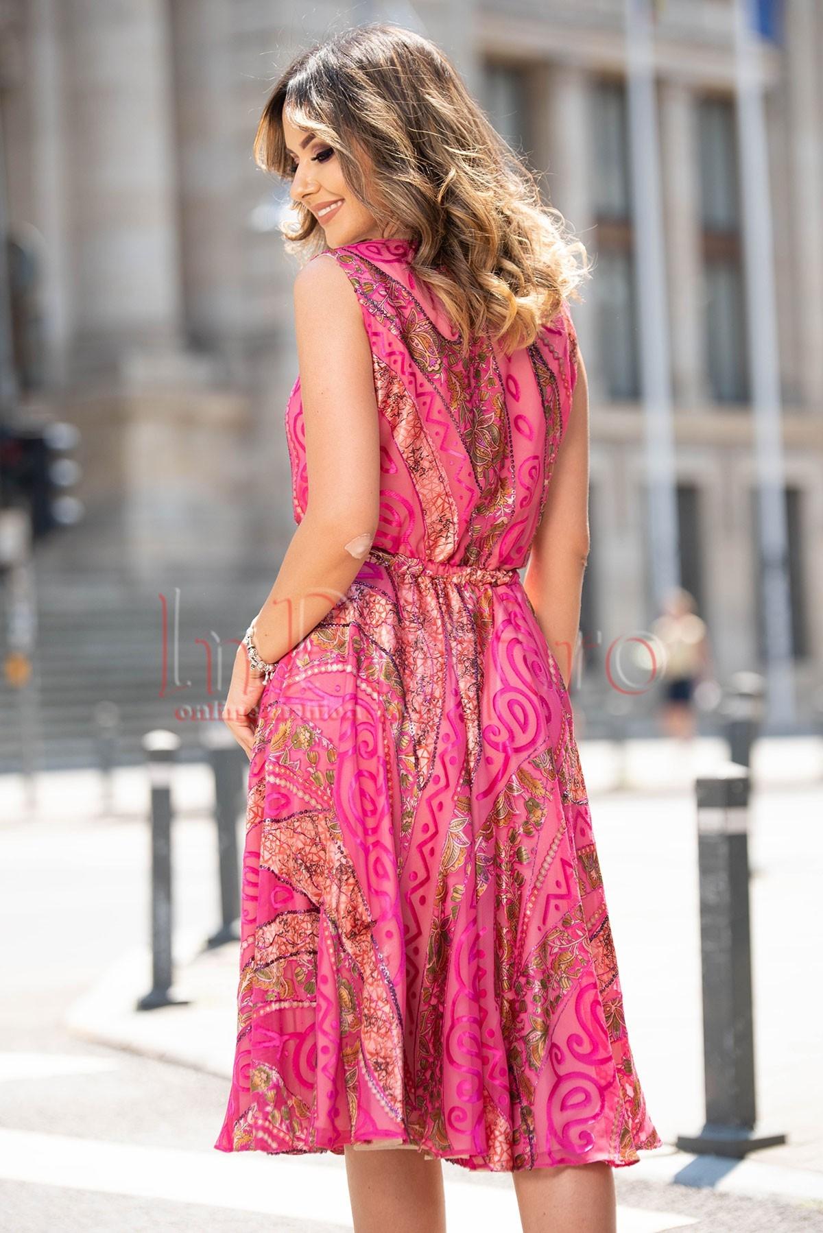 Rochie de vara midi fucsia cu imprimeu floral