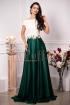 Rochie de ocazie lunga in clos verde din tafta cu insertii brodate