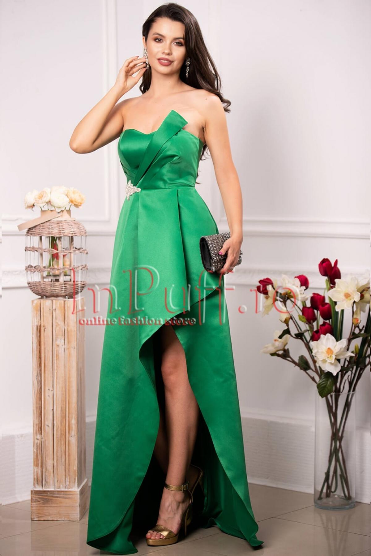 Rochie de seara lunga din tafta verde cu brosa in talie Miss-Grey