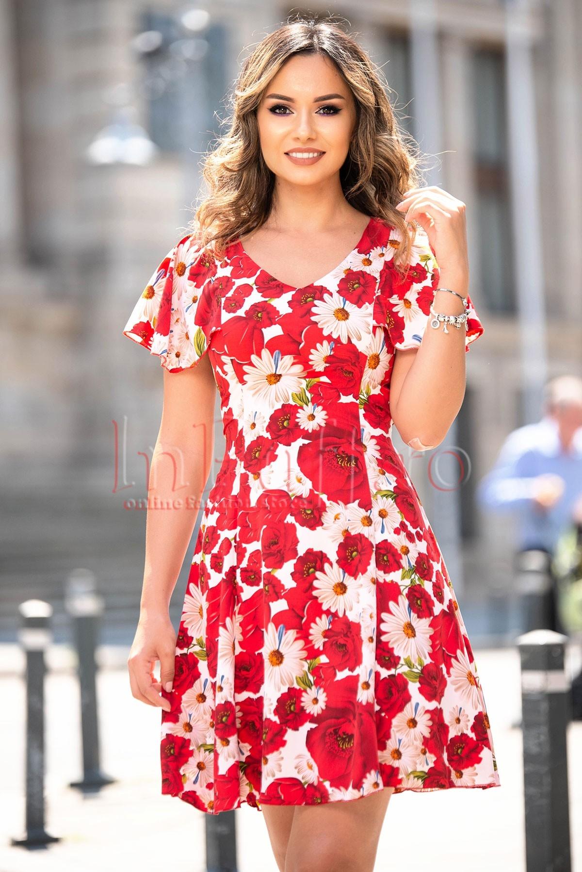 Rochie eleganta de vara in clos cu imprimeu floral