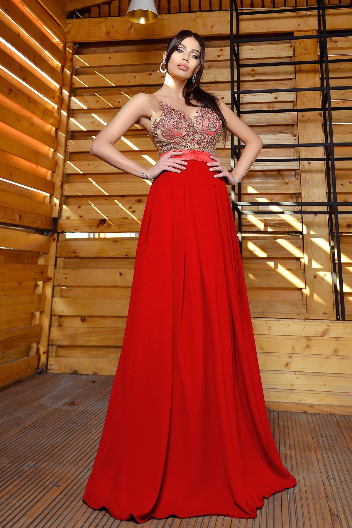 Rochie de seara lunga rosie Atmosphere