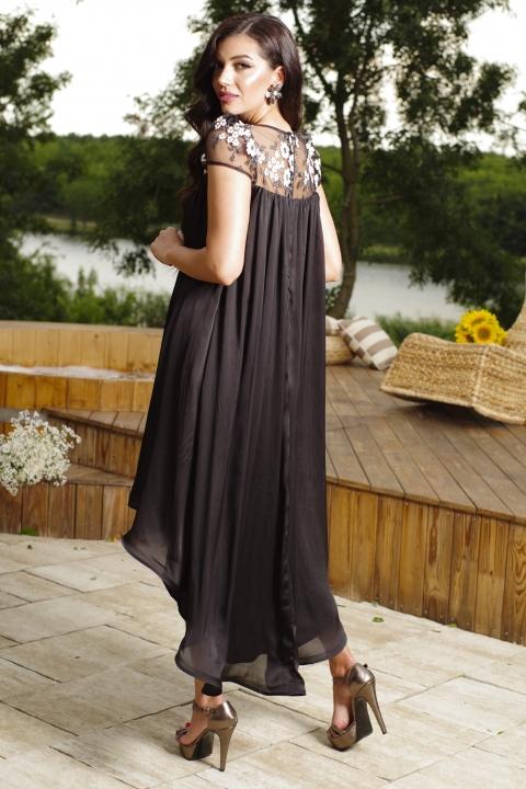Rochie de seara asimetrica din voal satinat cu tul brodat