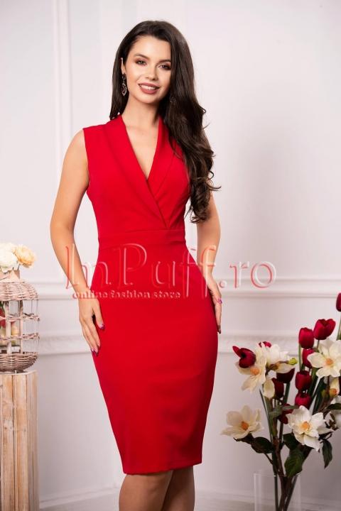 Rochie eleganta Moze midi rosie cu decolteu petrecut in V