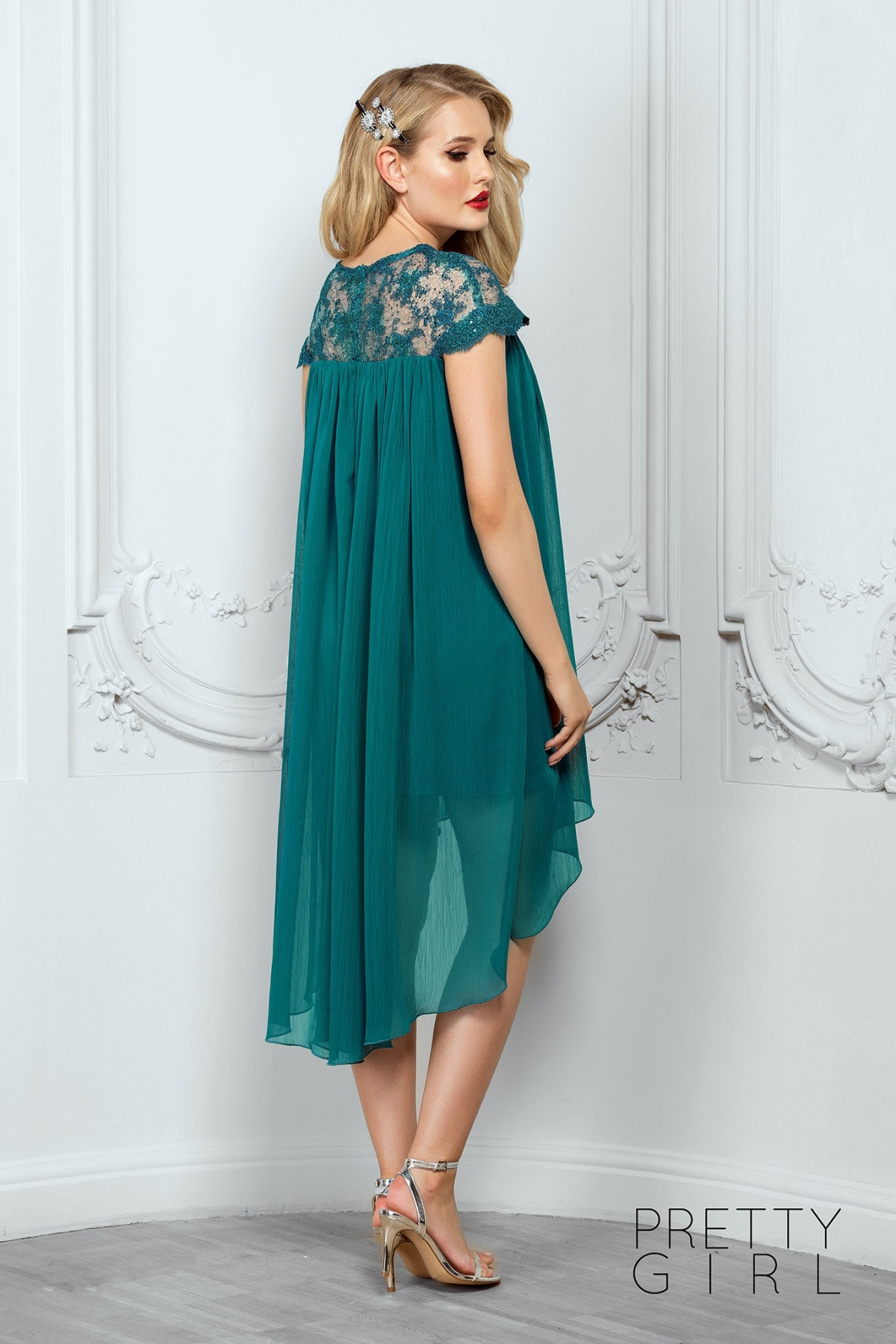 Rochie eleganta de seara din voal verde