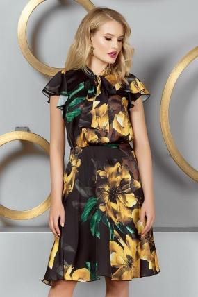 Rochie eleganta din voal neagra cu imprimeu floral