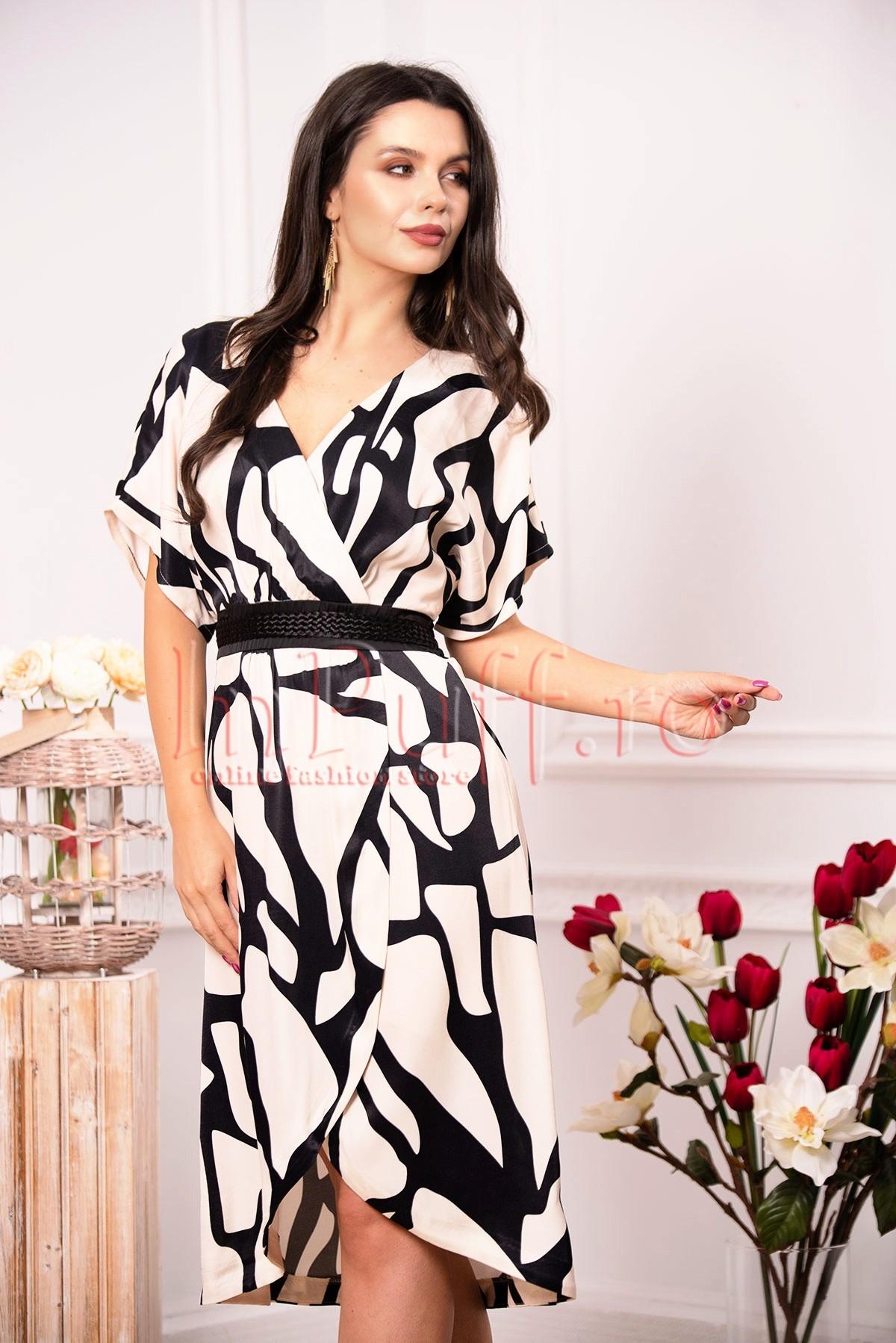 Rochie eleganta de vara cu imprimeu tip zebra