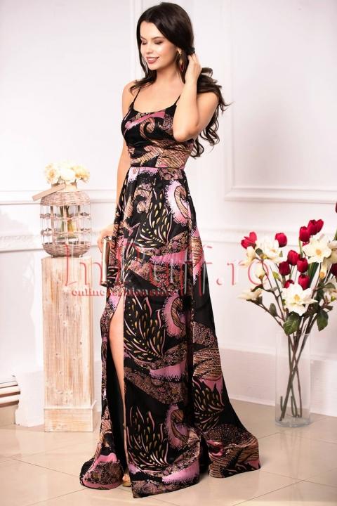 Rochie de ocazie neagra cu imprimeu floral si paiete mov