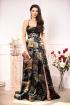 Rochie de ocazie neagra cu imprimeu floral si paiete turcoaz