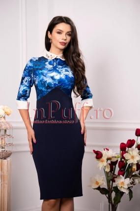 Rochie casual bleumarin cu imprimeu floral albastru