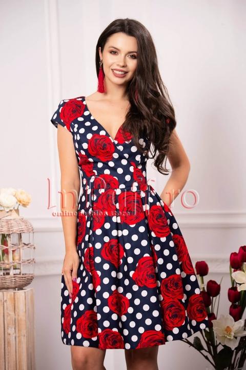 Rochie eleganta de zi cu buline si trandafiri