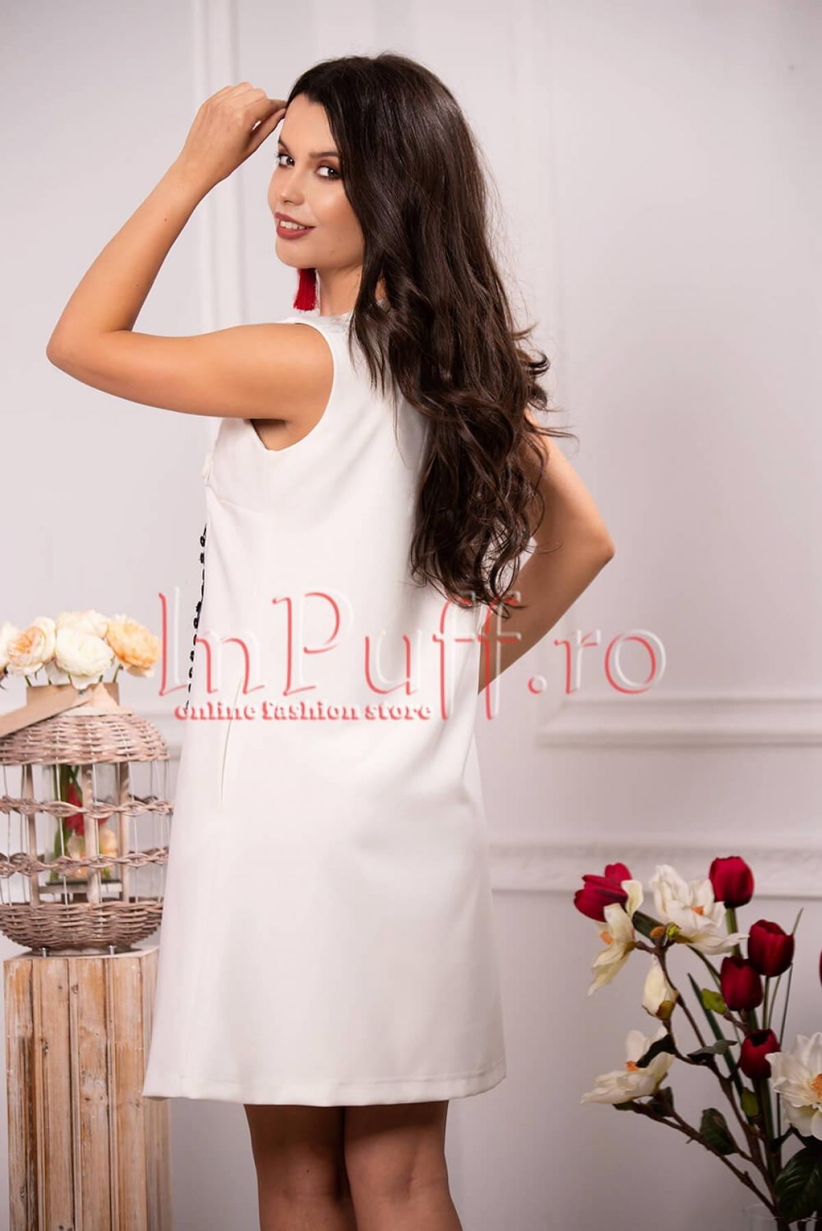Rochie eleganta de zi alba cu decor aplicat si broderie florala