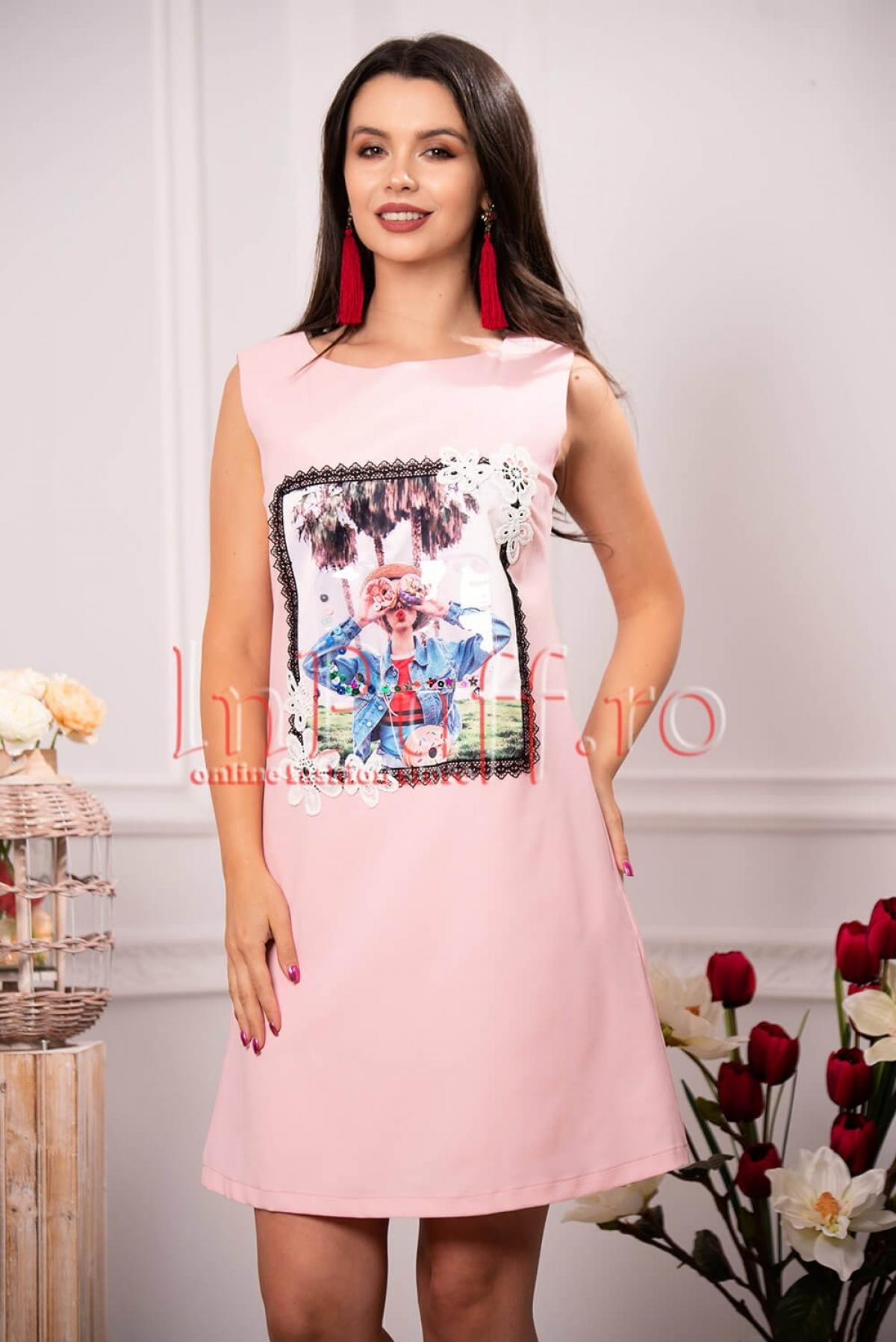Rochie eleganta de zi rose cu model aplicat si broderie