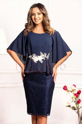 Rochie de ocazie bleumarin din voal cu broderie