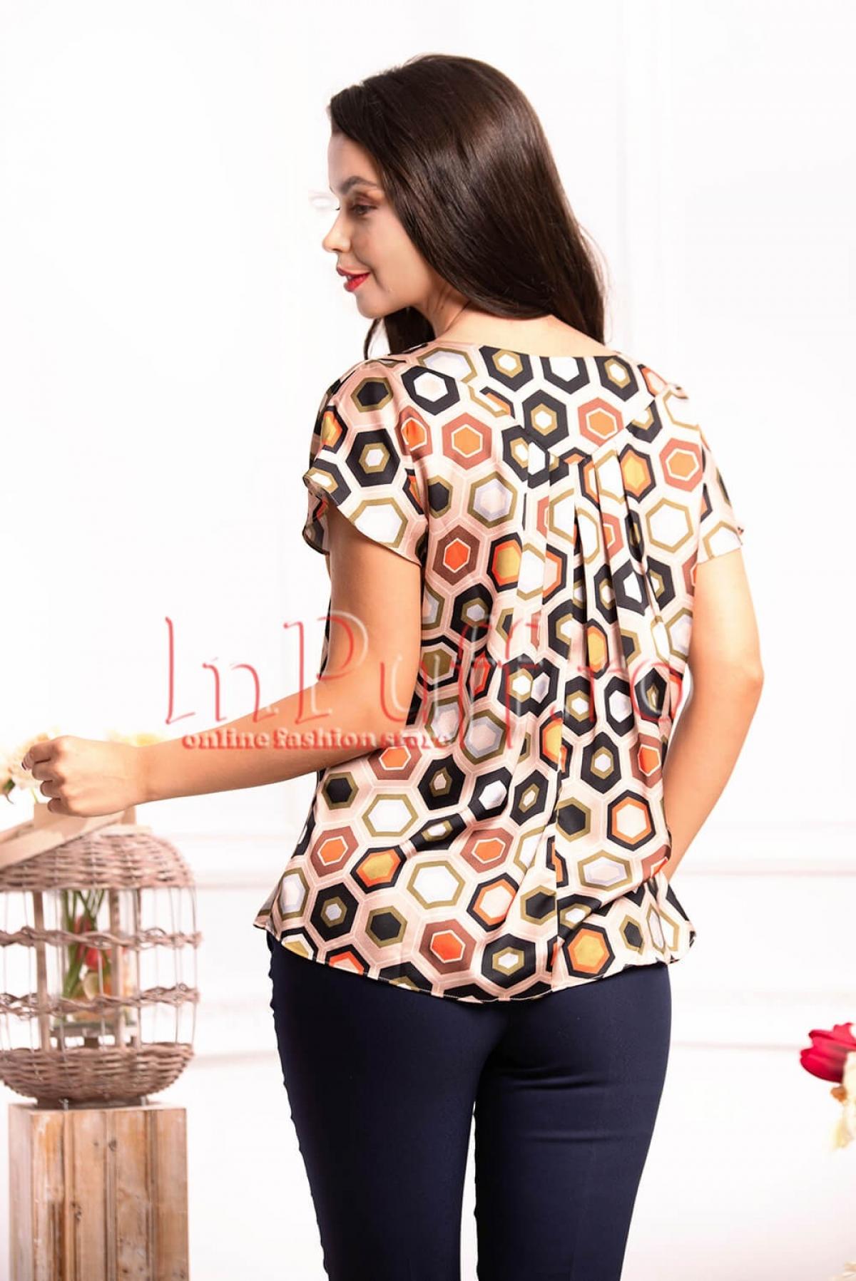 Bluza dama cu imprimeu multicolor din satin si pliuri