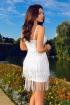 Rochie scurta alba cu franjuri Atmosphere