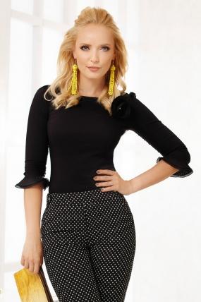 Bluza neagra cu maneca trei sferturi Fofy