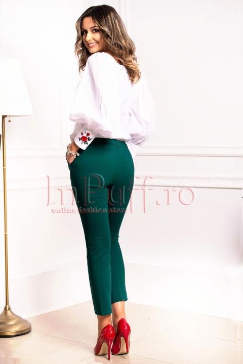 Pantaloni dama verzi din tercot