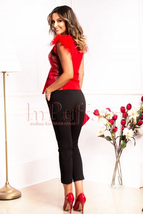 Pantaloni dama negri din tercot