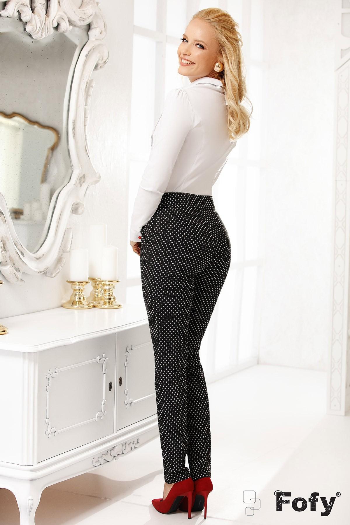 Pantalon Fofy negru imprimat cu cruciulite