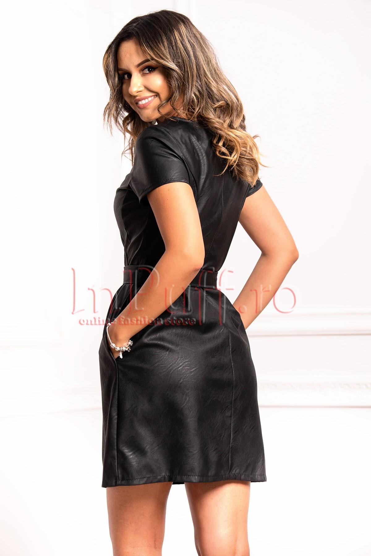 Rochie neagra din piele ecologica