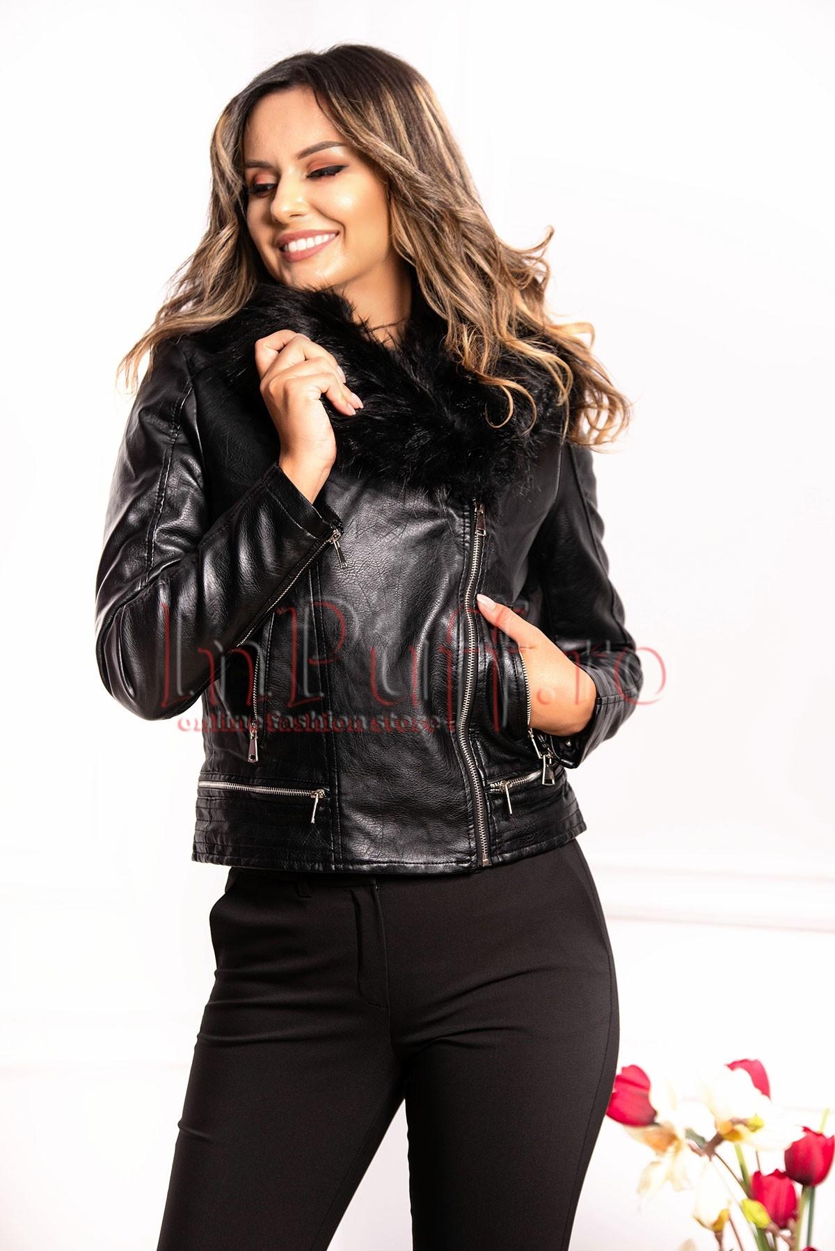 Jacheta neagra din piele ecologica thumbnail
