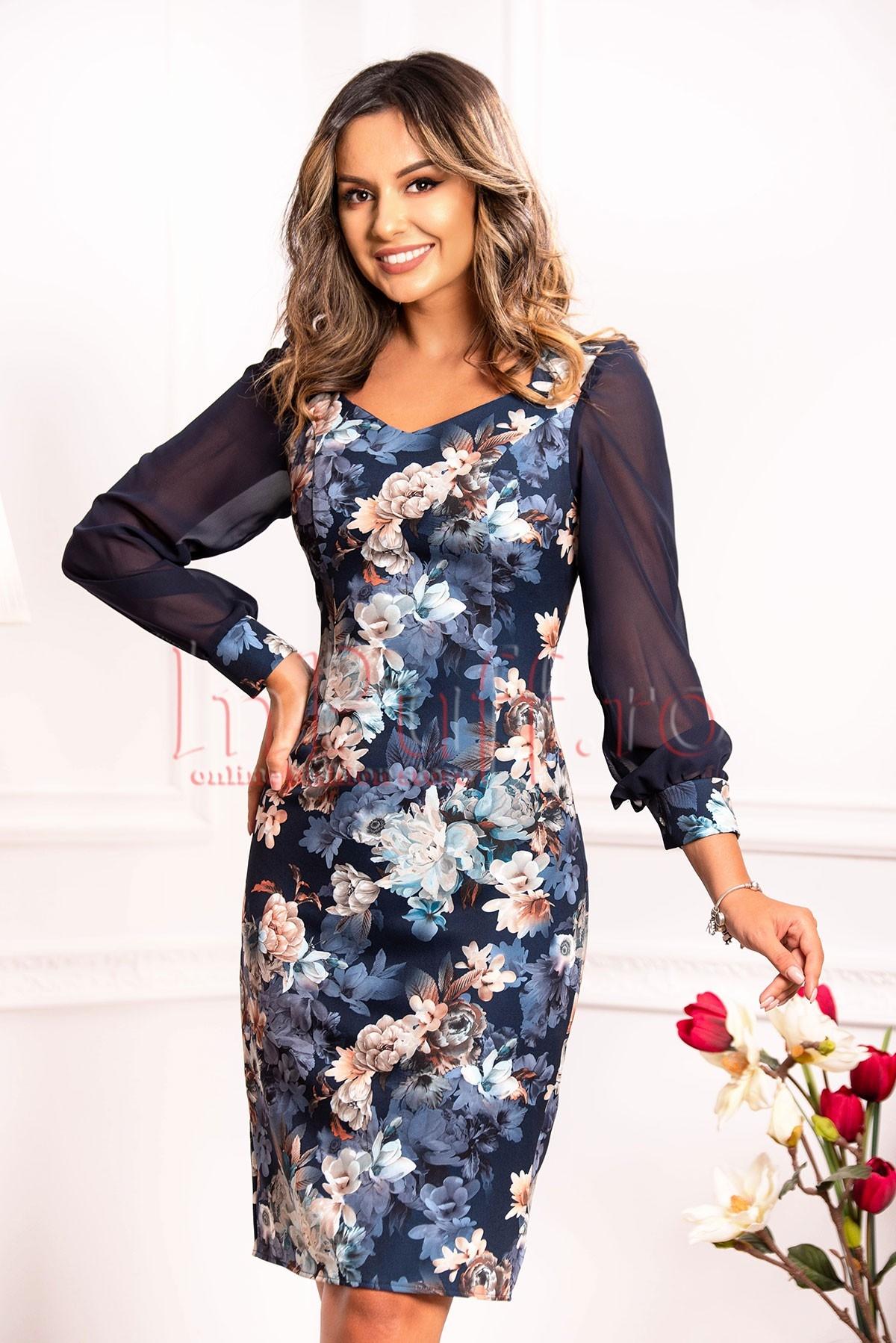 Rochie cu imprimeu floral bleumarin