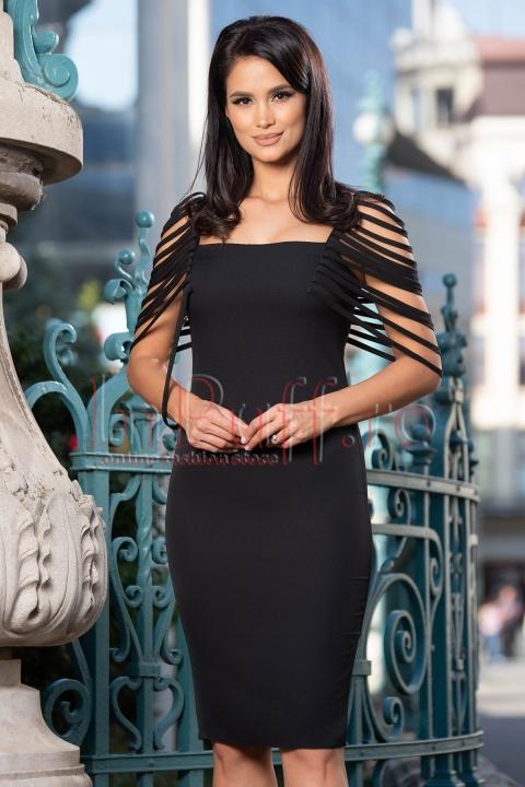 Rochie neagra eleganta cu bretelute