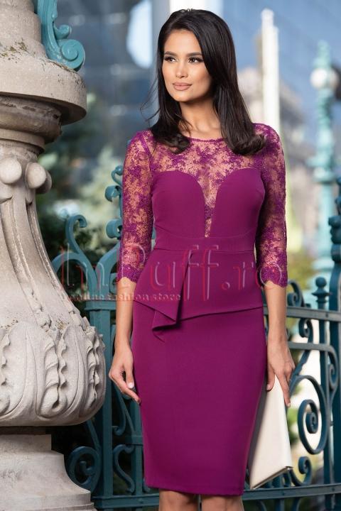 Rochie eleganta cu peplum si dantela