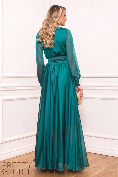 Rochie de ocazie lunga verde din voal cu decolteu petrecut