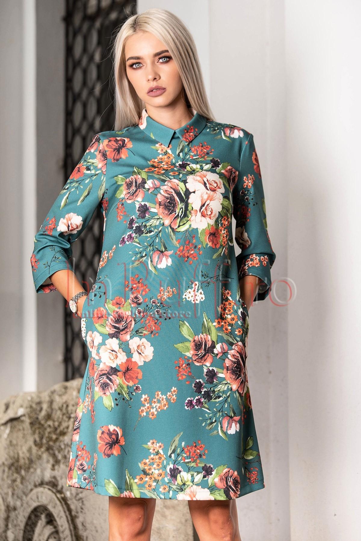 Rochie de zi lejera cu imprimeu floral si guler barbatesc