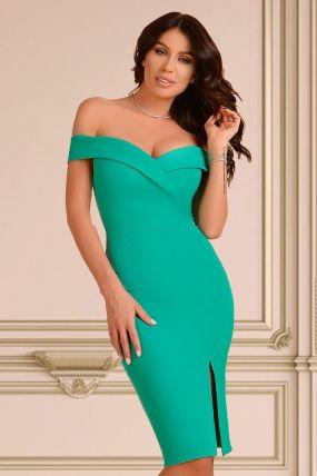 Rochie eleganta verde lasata pe umeri Atmosphere