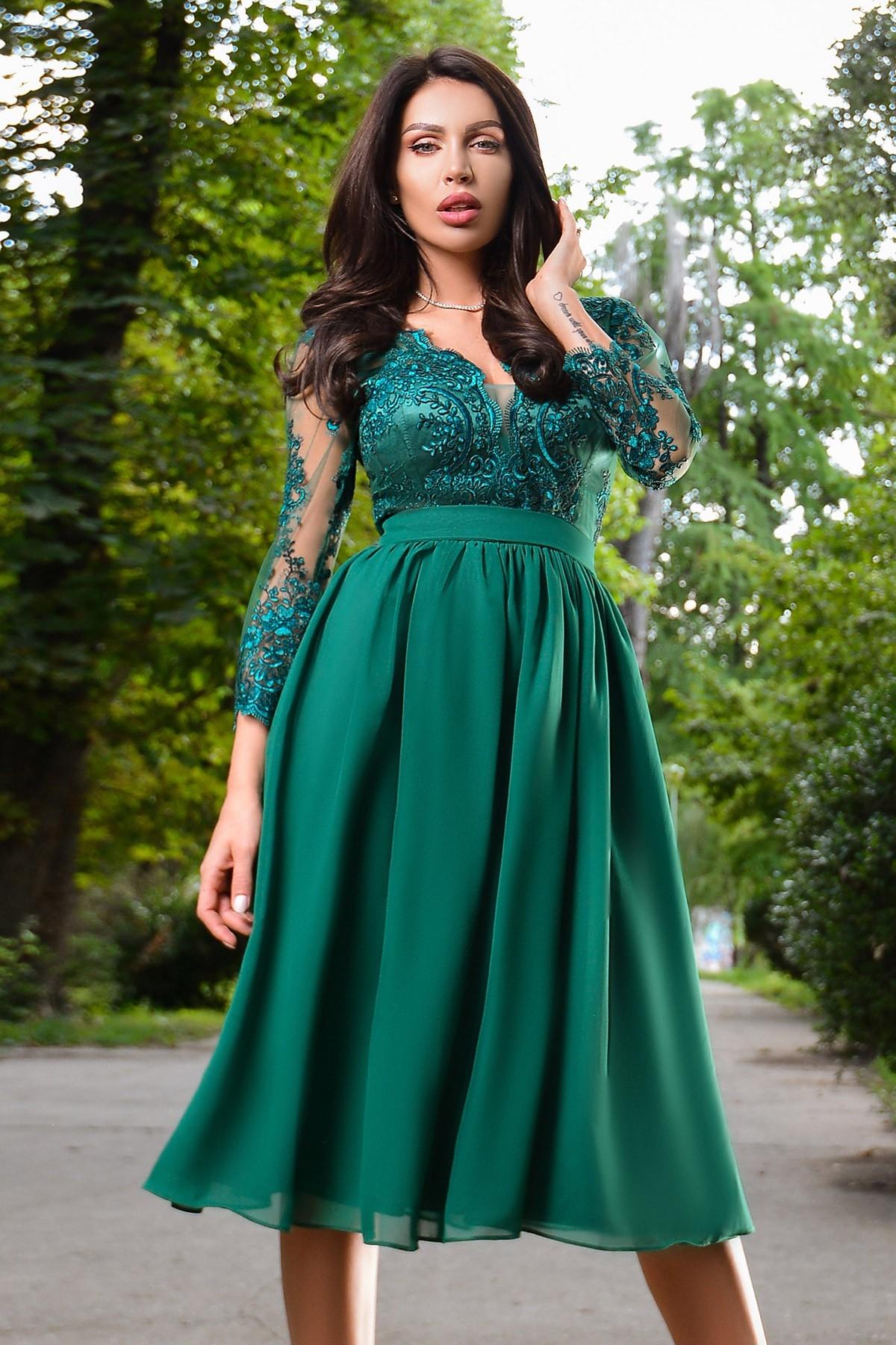 Rochie de seara verde cu dantela Atmosphere
