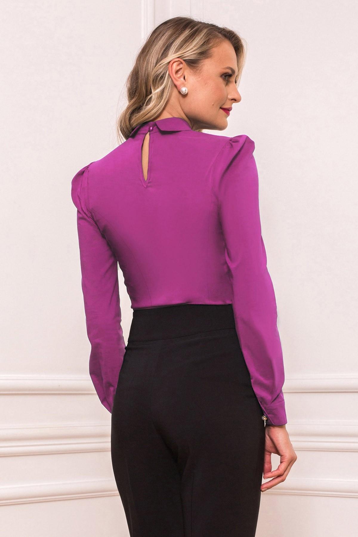 Camasa eleganta violet cu volane