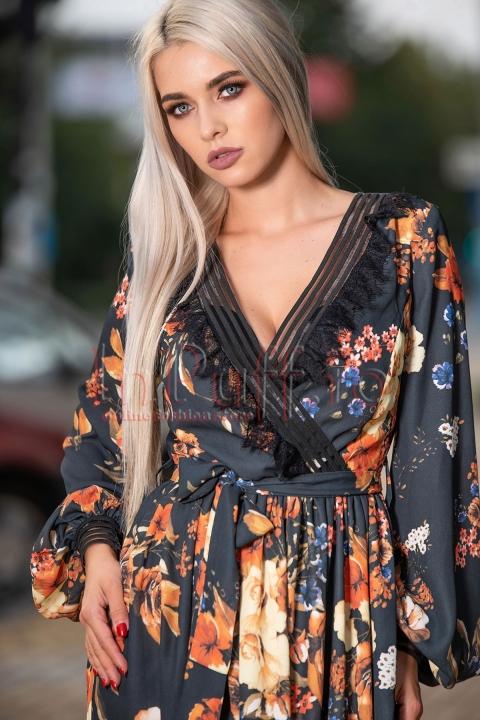 Rochie eleganta in clos din voal cu imprimeu floral