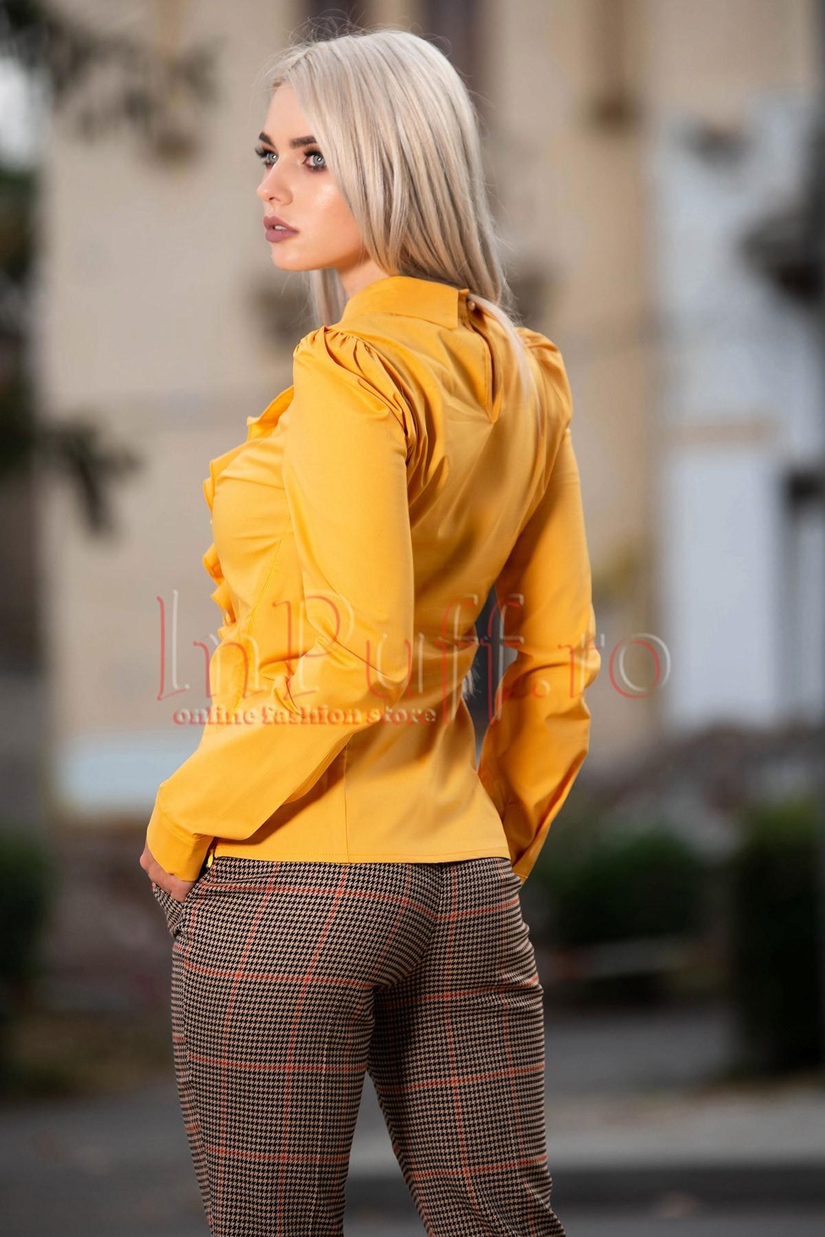 Camasa eleganta galben-mustar cu volane