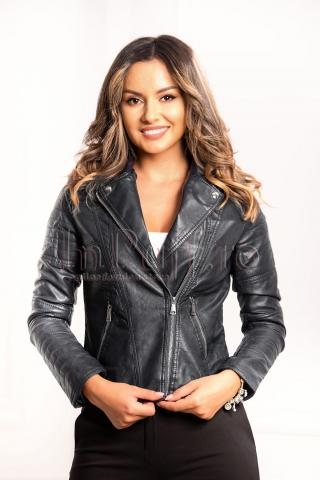 Jacheta neagra din piele ecologica