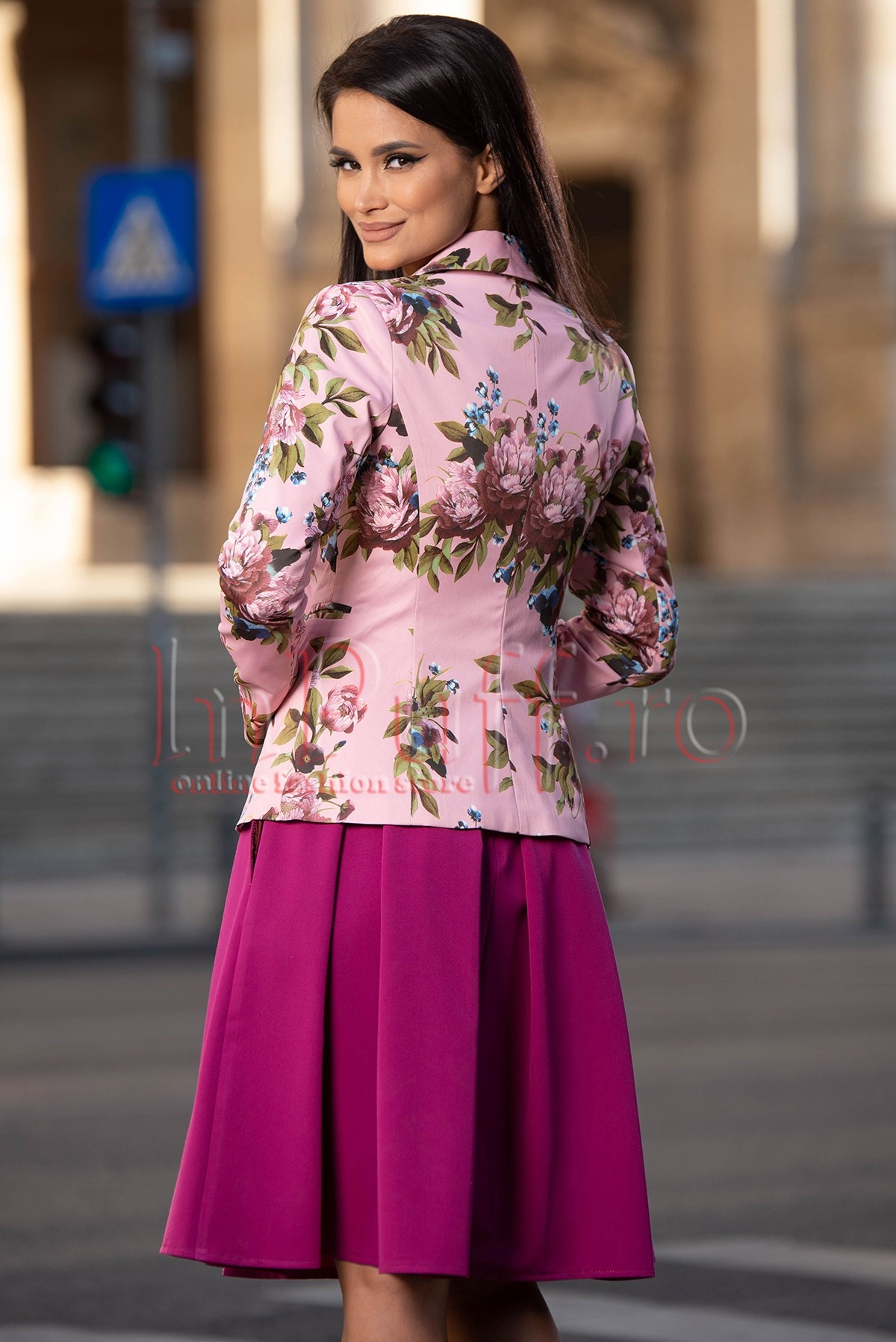 Sacou dama cu imprimeu floral