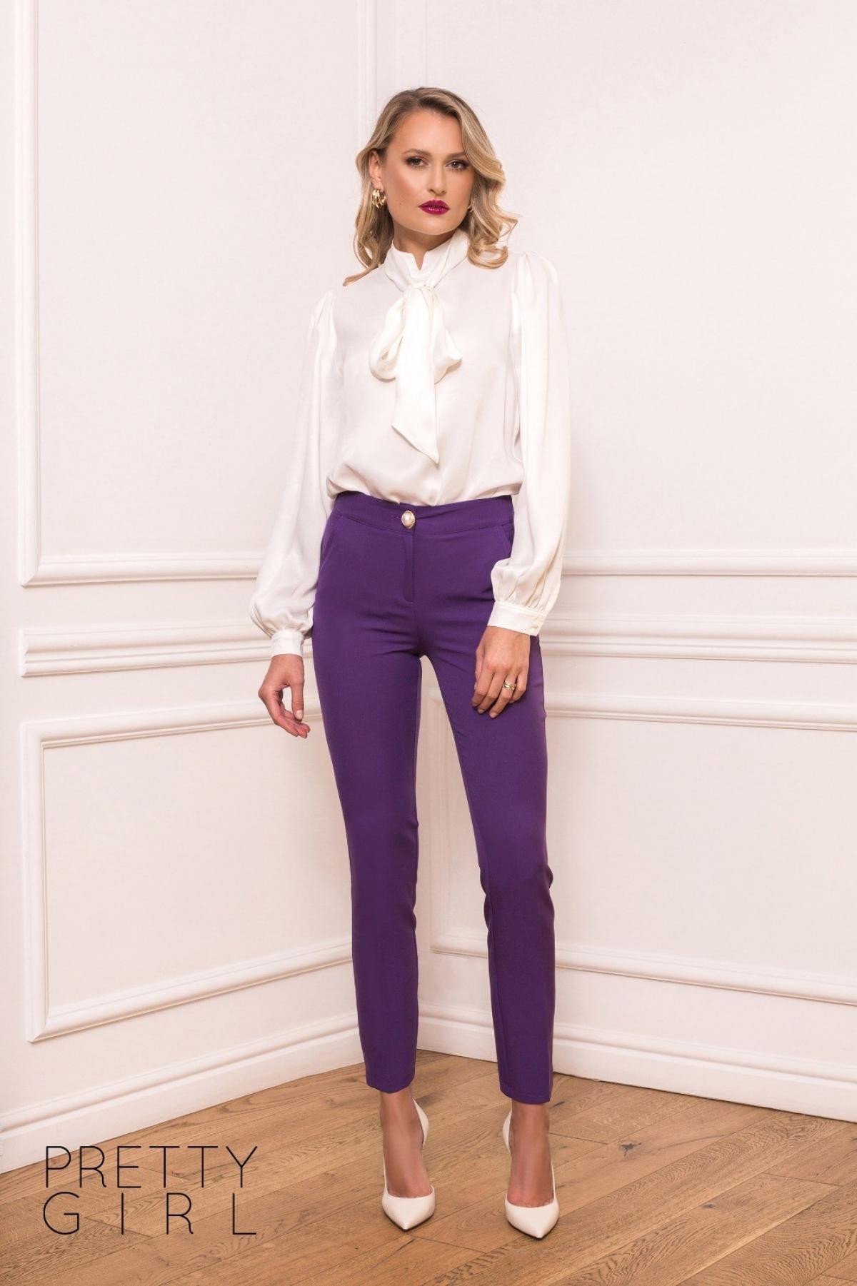 Bluza alba eleganta cu esarfa detasabila