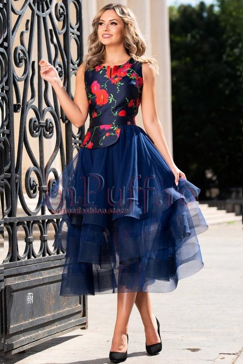 Rochie eleganta cu broderie florala baby doll